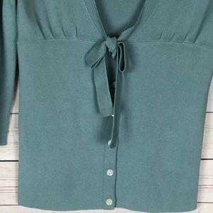 Ann Taylor Sweaters - Ann Taylor Blue Cardigan Bow Tie Waist Size S